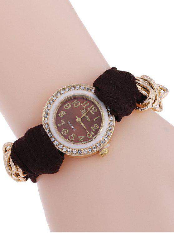 women's Velvet Rhinestone Quartz Analog Watch - BROWN