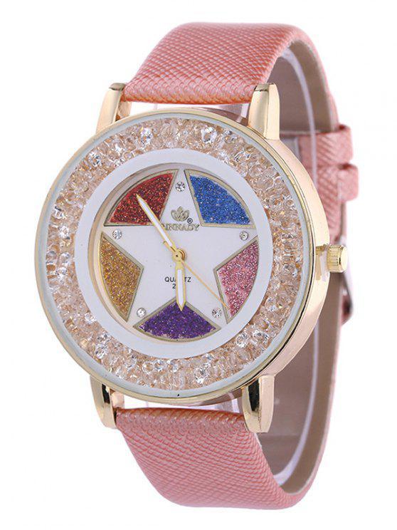 online Rhinestone Faux Leather Pentagram Quartz Watch - PINK