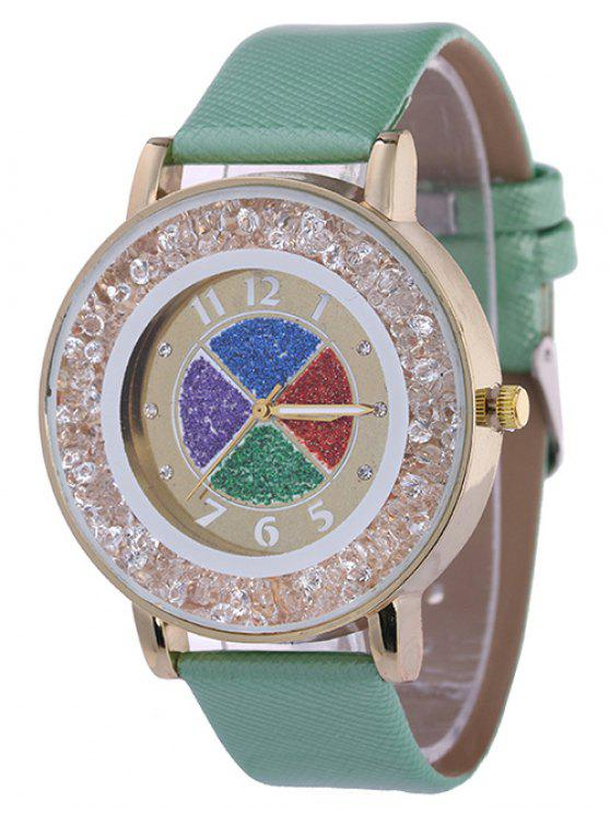 chic Rhinestone Circle Dial Plate PU Leather Watch - GREEN