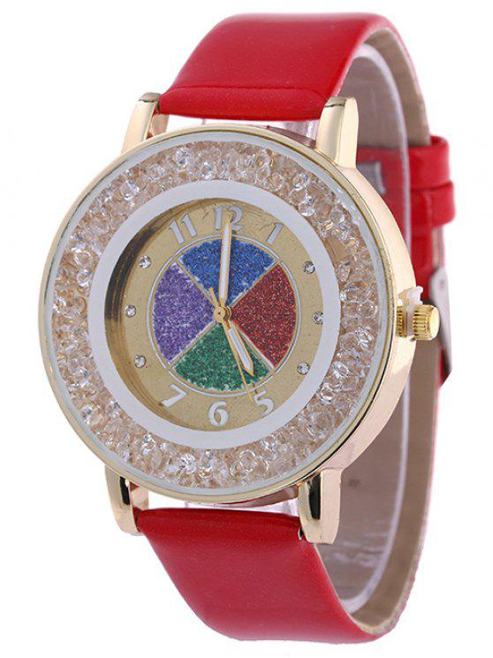 unique Rhinestone Circle Dial Plate PU Leather Watch - RED