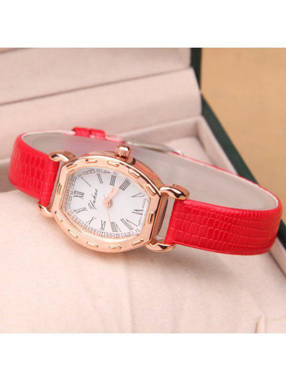 womens Roman Numerals PU Leather Quartz Watch - RED