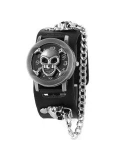 Skull Bone Faux Leather Chain Bracelet Watch - Black