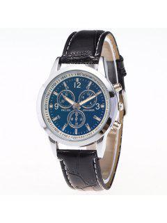 Faux Leather Analog Digit Quartz Watch - Black