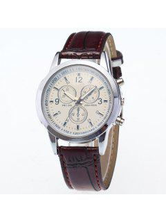 PU Leather Analog Digit Quartz Watch - Brown