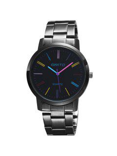 GIMTO Alloy Steel Band Analog Quartz Watch - Black