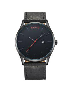 GIMTO Vintage Faux Leather Band Quartz Watch - Black