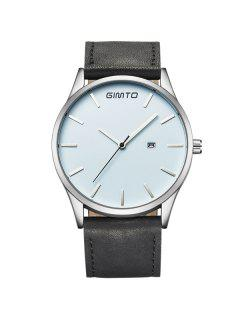 GIMTO Vintage Faux Leather Band Quartz Watch - Silver