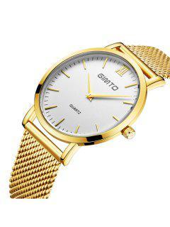 GIMTO Vintage Steel Band Quartz Watch - Golden