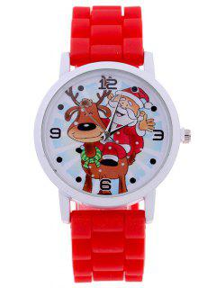 Smile Santa Christmas Elk Quartz Watch - Red