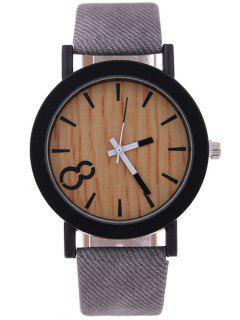 Wood Grain Faux Leather Quartz Watch - Gray