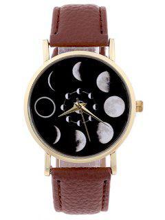 Lunar Eclipse Faux Leather Quartz Watch - Brown