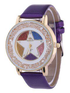 Rhinestone Faux Leather Pentagram Quartz Watch - Purple