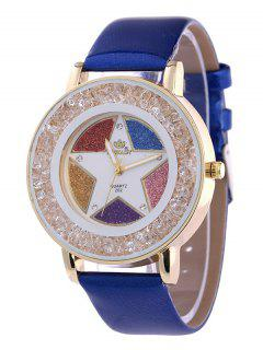 Rhinestone Faux Leather Pentagram Quartz Watch - Sapphire Blue