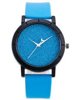 PU Leather Baby Breath Moon Quartz Watch - Azure