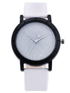 PU Leather Baby Breath Moon Quartz Watch - White