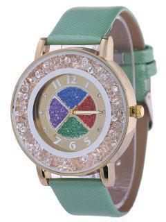 Rhinestone Circle Dial Plate PU Leather Watch - Green