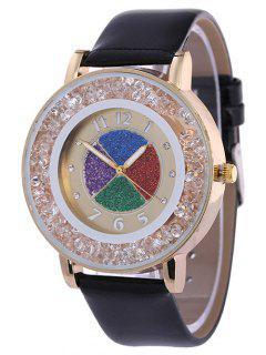 Rhinestone Circle Dial Plate PU Leather Watch - Black