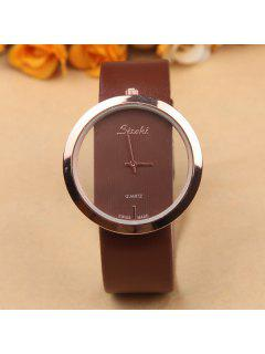 Faux Leather Circle Quartz Watch - Coffee