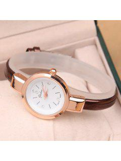 Vintage Rhinestone Artificial Leather Quartz Watch - Coffee