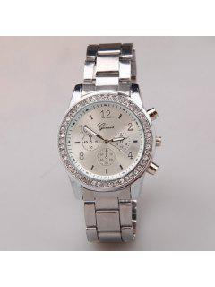 Circle Dial Plate Rhinestone Steel Band Watch - Silver