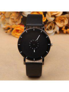 Layered Dial Plate PU Leather Quartz Watch - Black