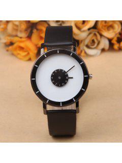 Layered Dial Plate PU Leather Quartz Watch - White And Black