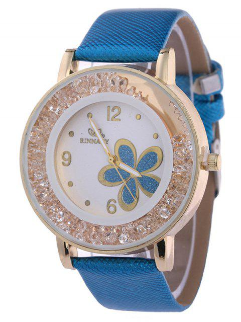 latest Rhinestone PU Leather Flower Quartz Watch - LAKE BLUE  Mobile