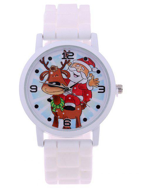 latest Smile Santa Christmas Elk Quartz Watch - WHITE  Mobile