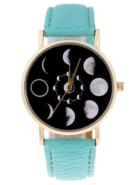 Montre en Quartz  en forme d'éclipse de Lune en Faux cuir - Vert Menthe  Mobile
