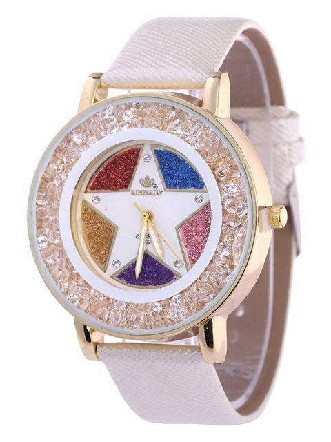 Pentacle Quartz Montre avec Strass de Cuir Faux - Blanc  Mobile