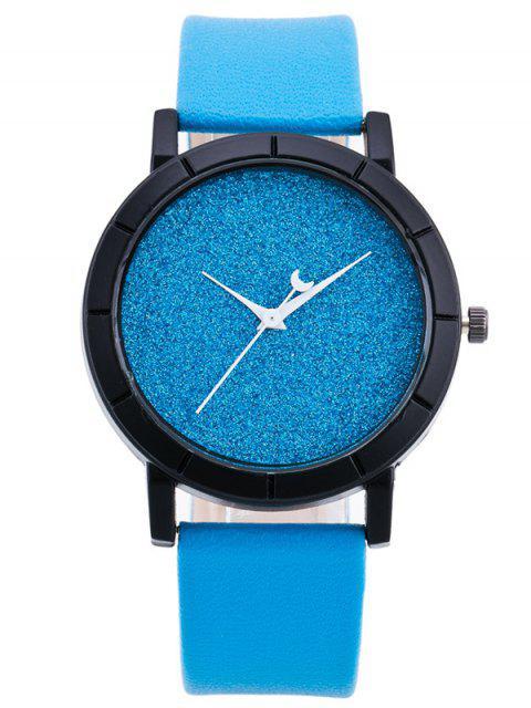 shop PU Leather Baby Breath Moon Quartz Watch - AZURE  Mobile