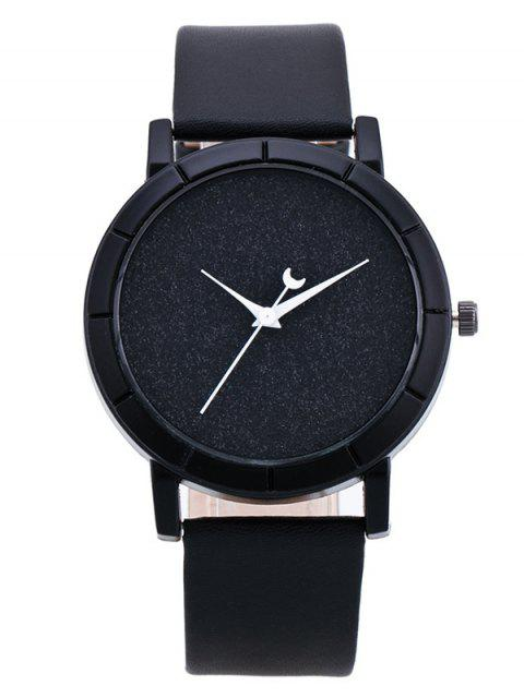 trendy PU Leather Baby Breath Moon Quartz Watch - BLACK  Mobile