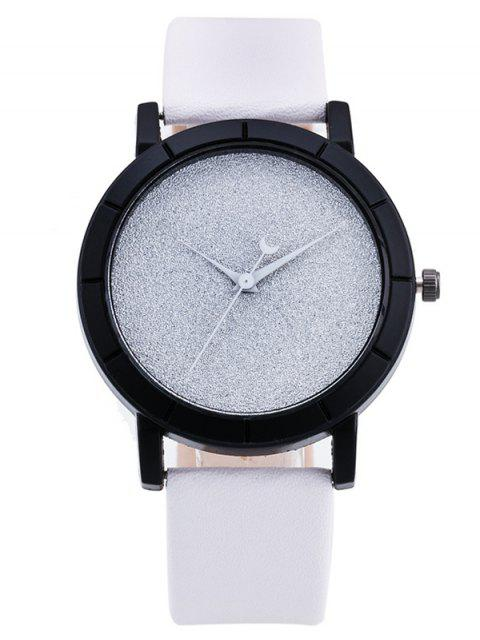 fashion PU Leather Baby Breath Moon Quartz Watch - WHITE  Mobile