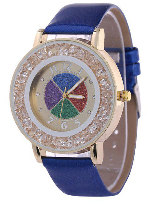 fancy Rhinestone Circle Dial Plate PU Leather Watch - SAPPHIRE BLUE  Mobile