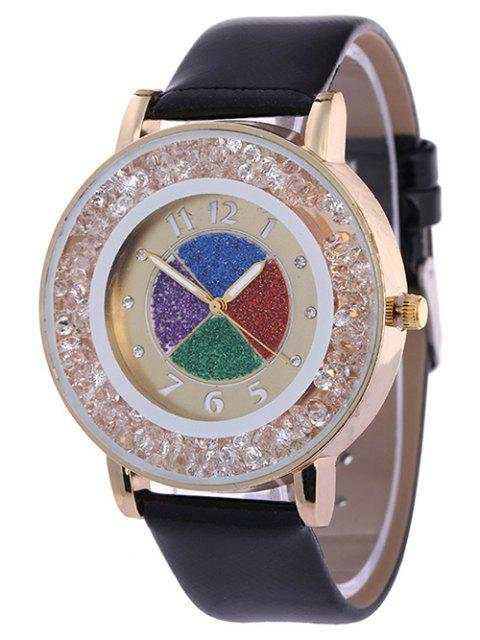 sale Rhinestone Circle Dial Plate PU Leather Watch -   Mobile