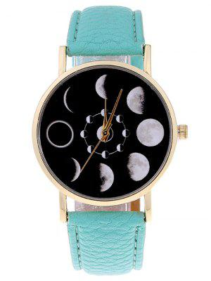 Reloj De Cuarzo De Cuero Faux De Lunar Eclipse - Menta Verde