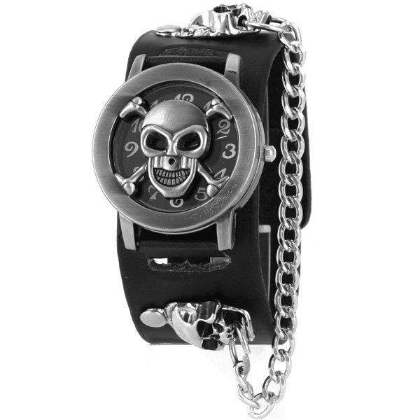 Skull Bone Faux Leather Chain Bracelet Watch 197406801