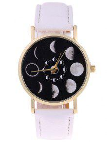 Reloj De Cuarzo De Cuero Faux De Lunar Eclipse - Blanco