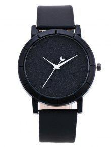 Reloj Imitación Cuero Diseño Luna Y Cuarzo  - Negro