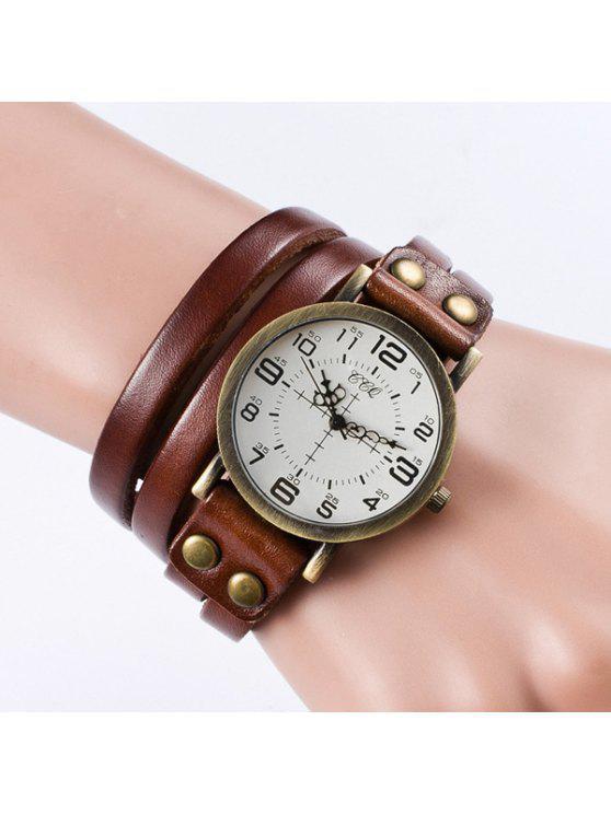 Vintage Faux Leather Bracelet Watch - Marrón Claro