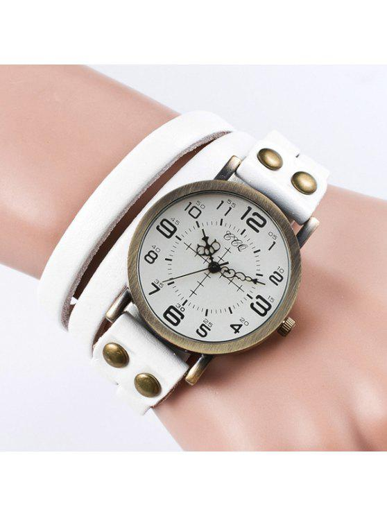 affordable Vintage Faux Leather Bracelet Watch - WHITE
