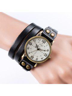 Vintage Faux Leather Bracelet Watch - Black