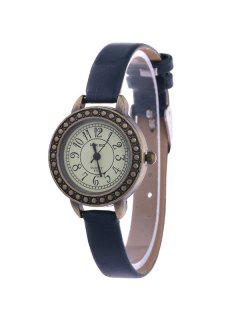 Faux Leather Alloy Watch - Deep Blue