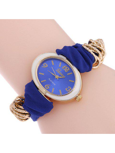 sale Oval Dial Plate Analog Quartz Watch - BLUE  Mobile