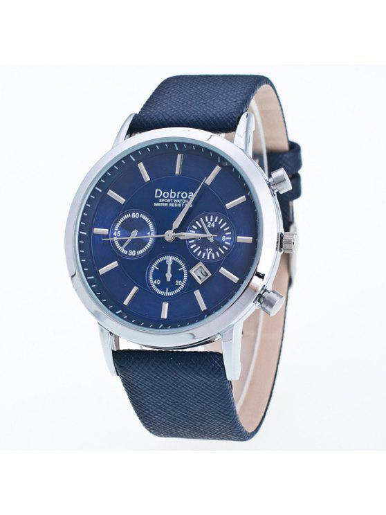 chic Faux Leather Analog Quartz Watch - BLUE