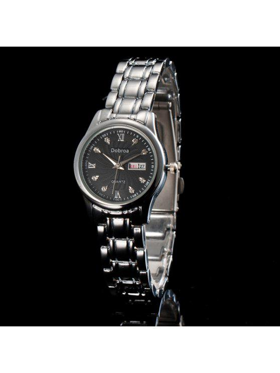 unique Roman Numerals Rhinestone Calendar Quartz Watch - BLACK