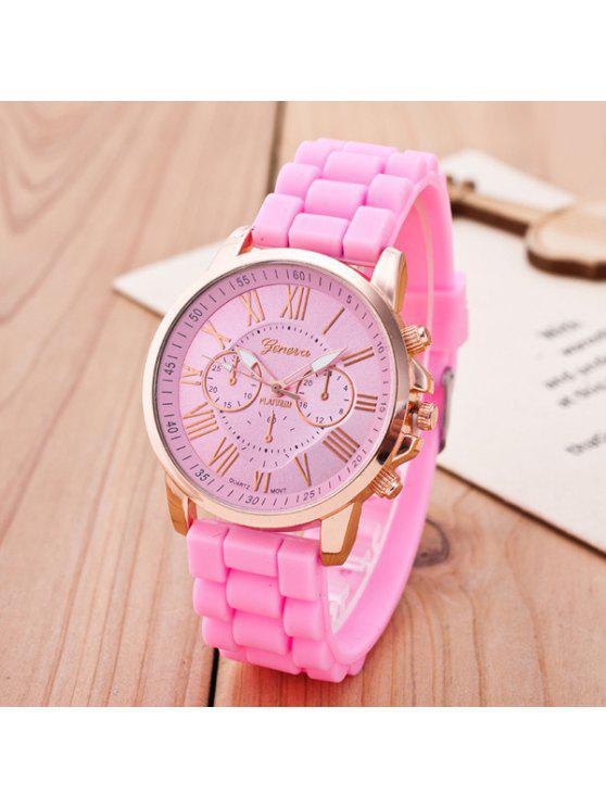 ladies Roman Numerals Silicone Quartz Watch - PINK