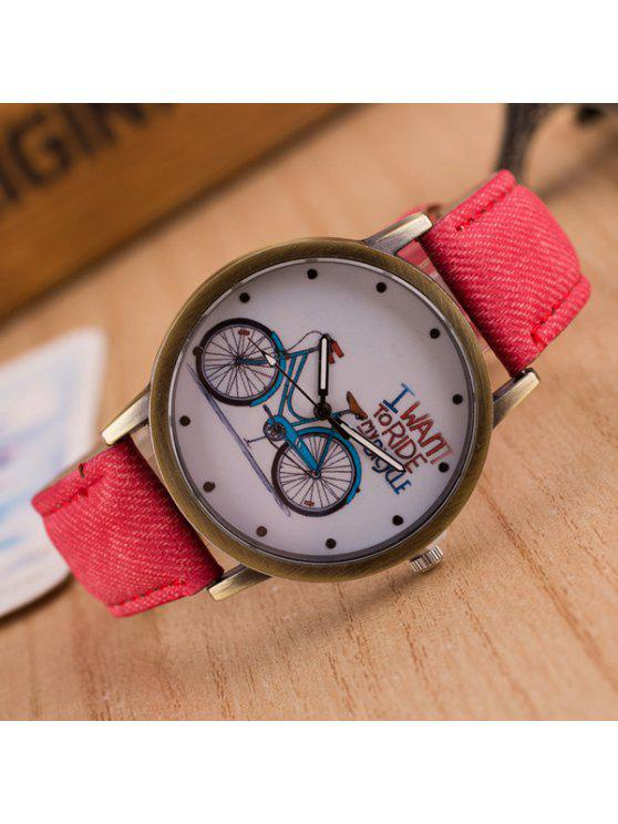fashion Bicycle Pattern Artificial Leather Quartz Watch - RED
