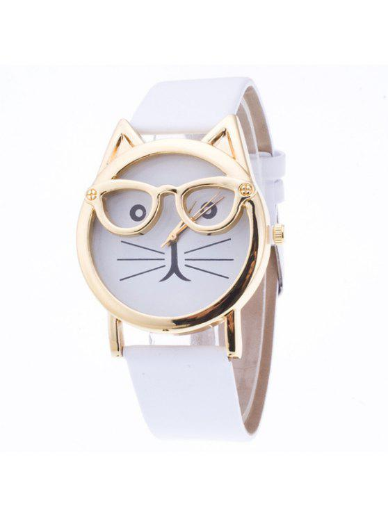 women's PU Leather Kitten Quartz Watch - WHITE