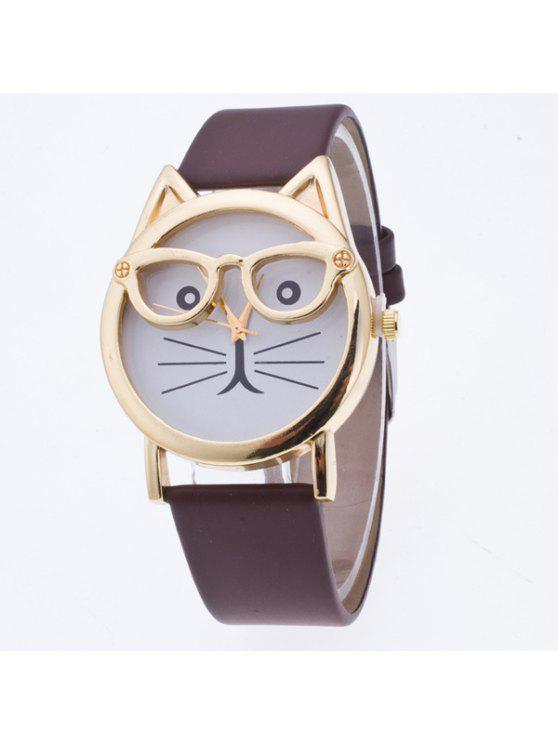 ladies PU Leather Kitten Quartz Watch - COFFEE